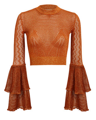 Lurex Knit Crop Top, RUST, hi-res