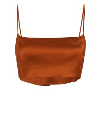 Java Satin Crop Top, ORANGE, hi-res