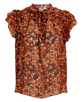 Tess Lurex Floral Sleeveless Blouse, ORANGE, hi-res