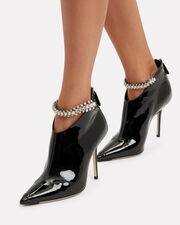 Blaize Crystal Strap Patent Leather Booties, BLACK, hi-res
