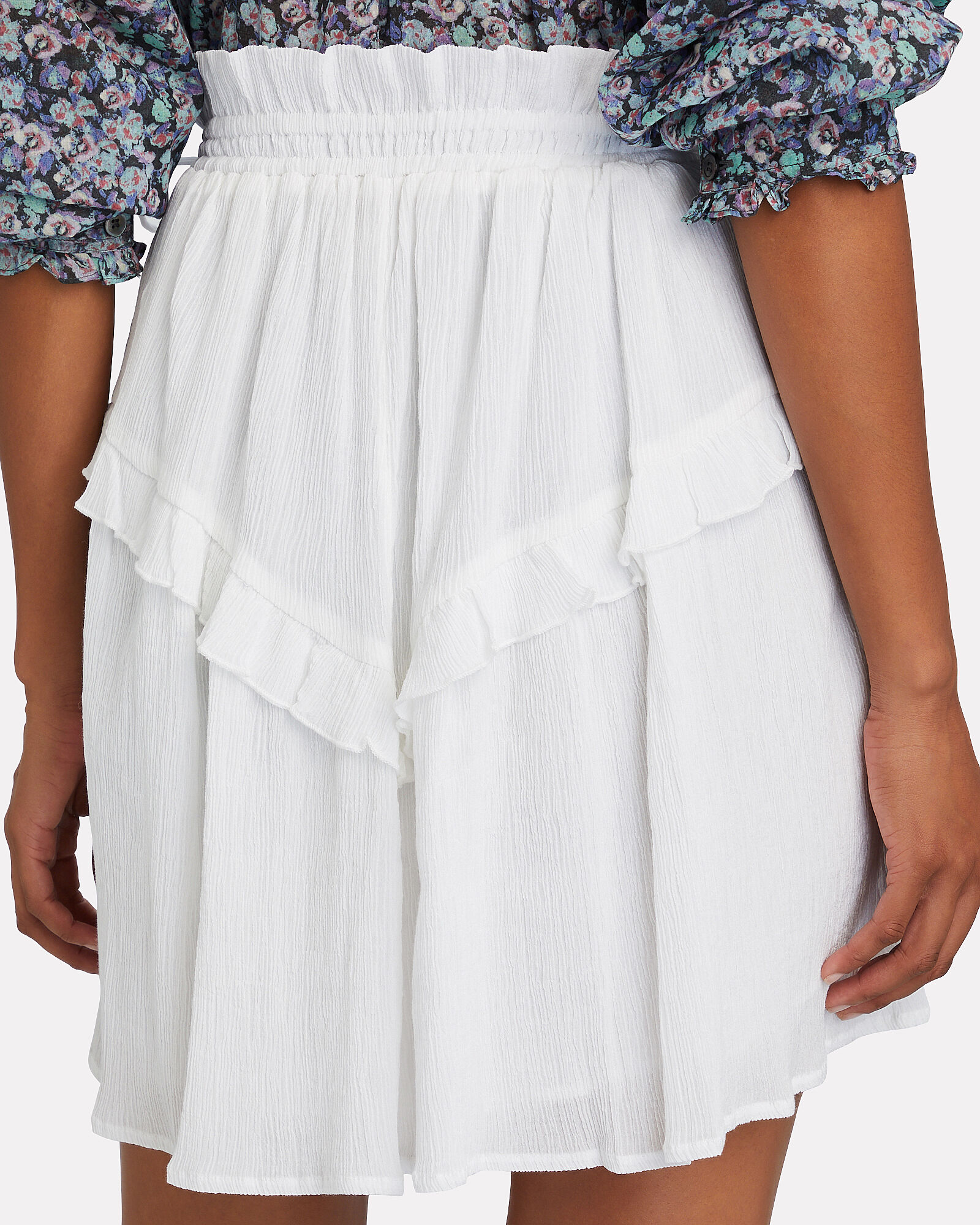 Itelo Ruffled Mini Skirt, WHITE, hi-res