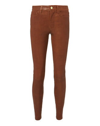 Cognac Skinny Leather Pants, BROWN, hi-res