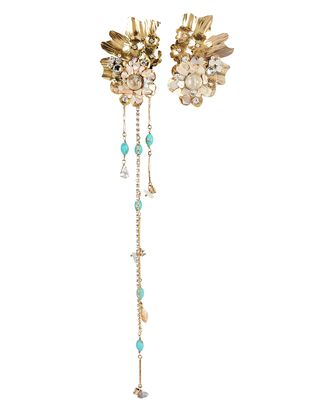 Aiko Mismatched Flower Earrings, GOLD, hi-res