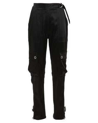 Satin Cargo Utility Pants, BLACK, hi-res
