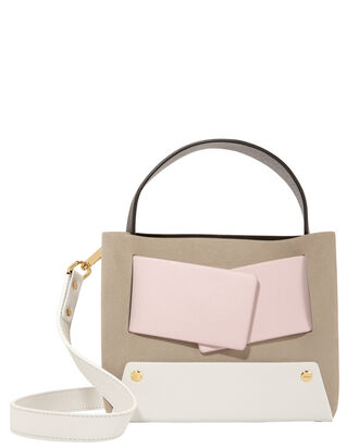 Dinky Leather Strap Suede Bag, BEIGE, hi-res
