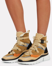 Sonnie High-Top Shearling Sneakers, BROWN/CREAM, hi-res