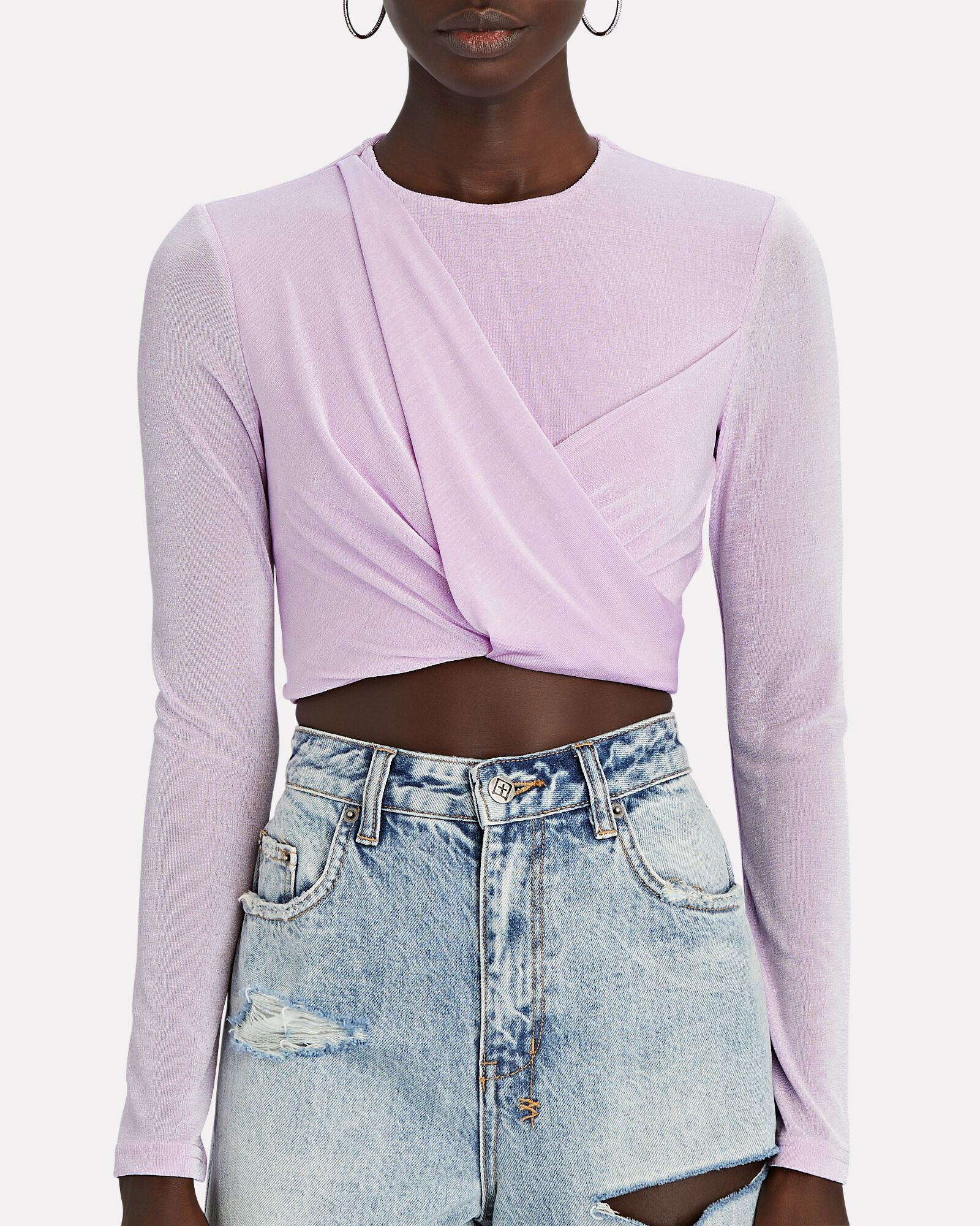 Evelyn Twisted Knit Crop Top, PURPLE-LT, hi-res