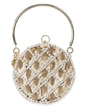 Gautier Crystal Cage Bag, GOLD, hi-res
