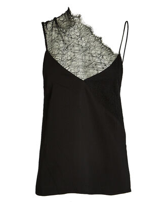 Asymmetrical Lace-Trimmed Camisole, BLACK, hi-res