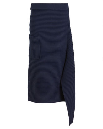 Merino Wool Origami Slit Skirt, NAVY, hi-res