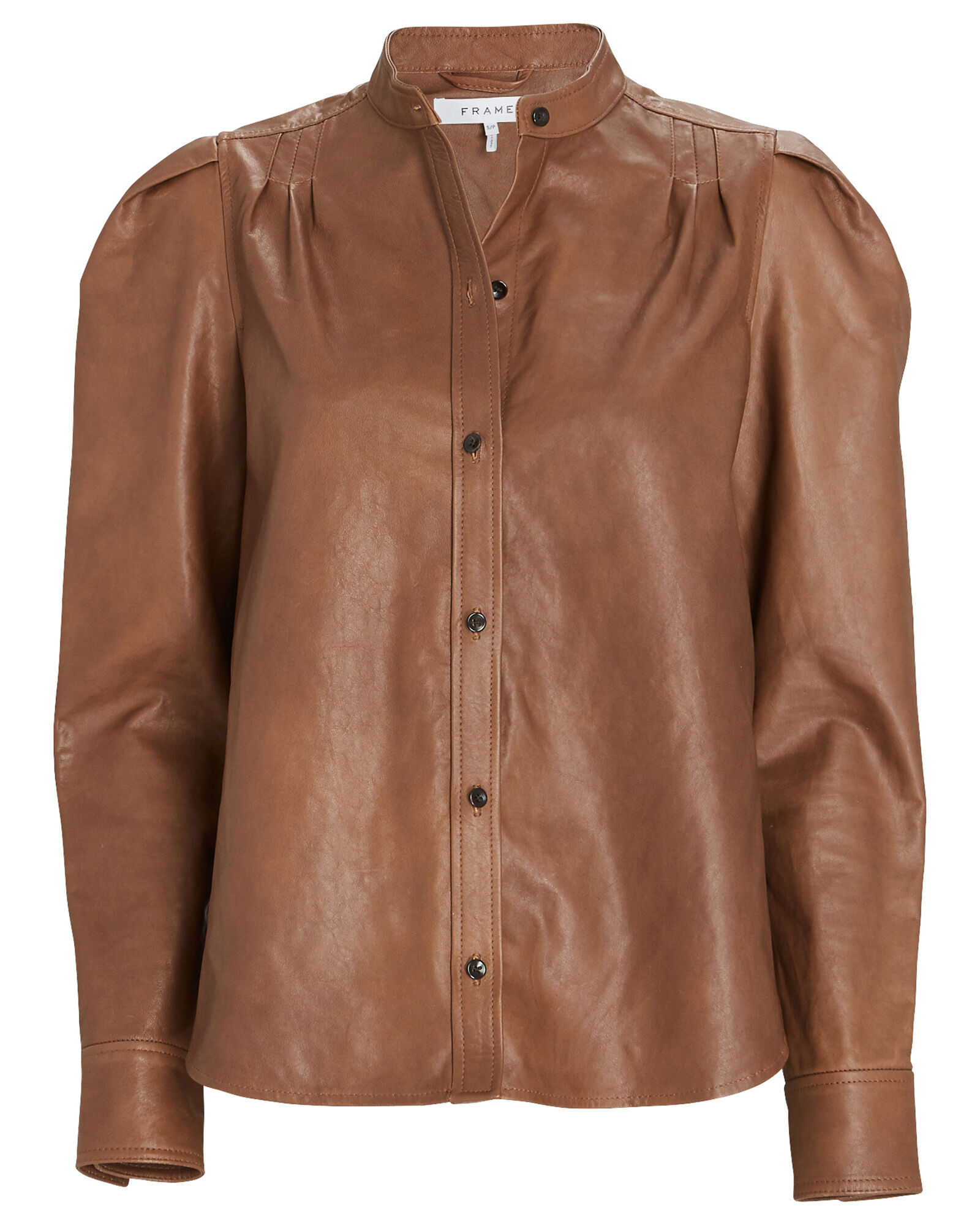 Charlie Puff Sleeve Leather Shirt, BROWN, hi-res
