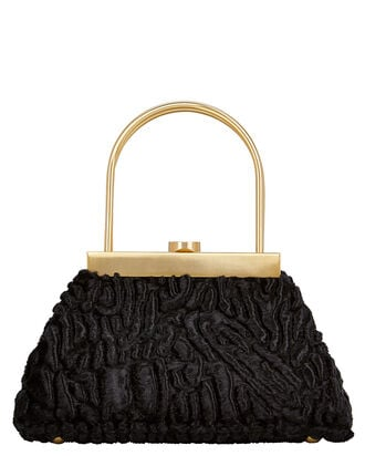 Estelle Faux Persian Lamb Bag, BLACK, hi-res