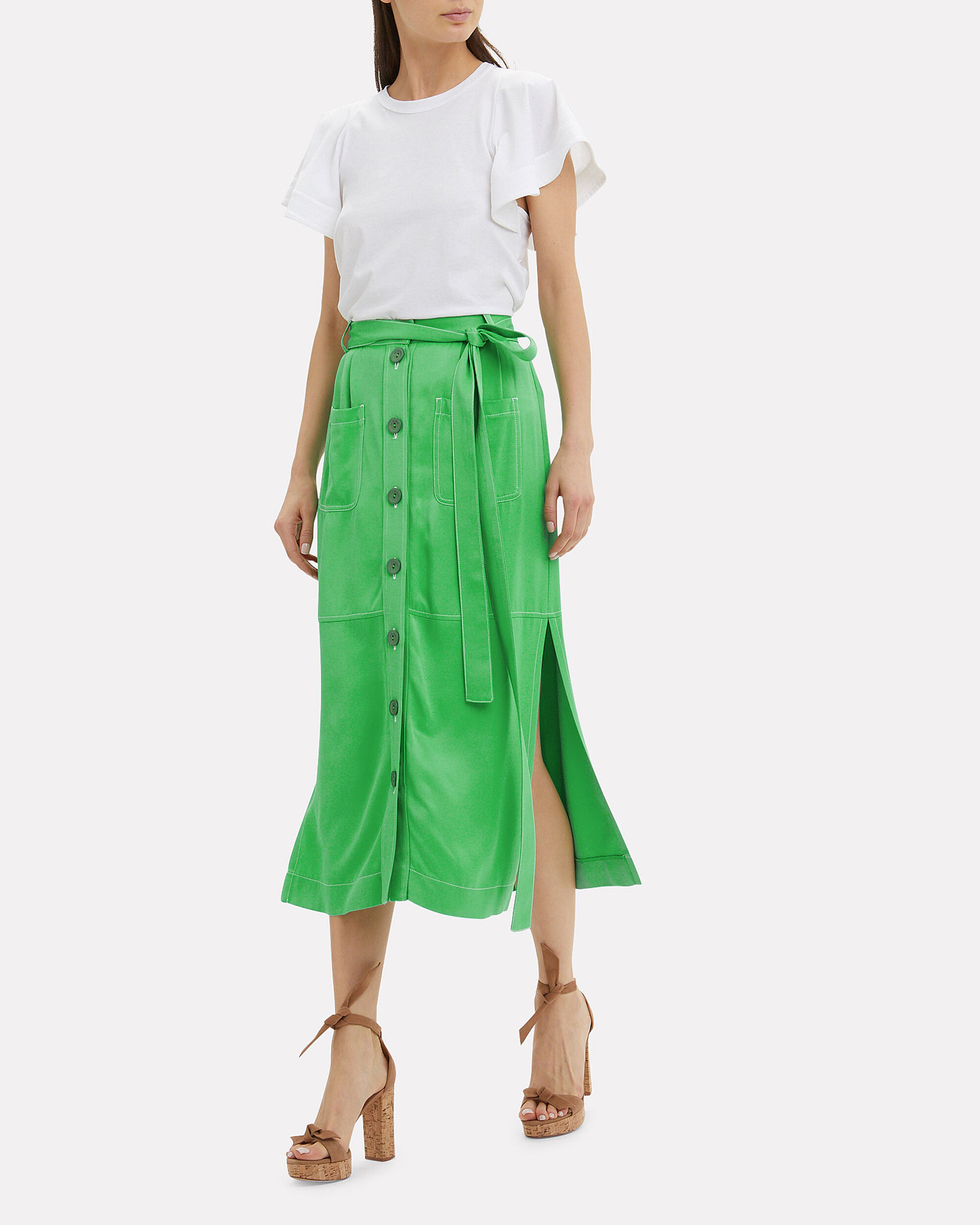 Button Midi Skirt, BRIGHT GREEN, hi-res