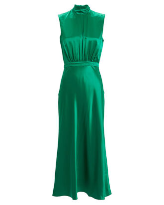 Fleur Silk Midi Dress, EMERALD, hi-res