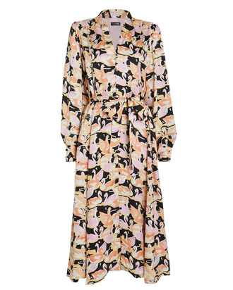 Amelie Swans Midi Dress, BLACK/SWAN PRINT, hi-res