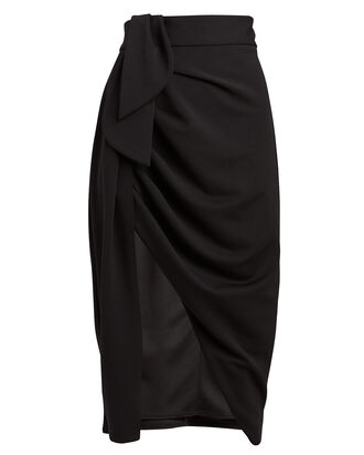 Mamma Mia Ruched Crepe Skirt, BLACK, hi-res