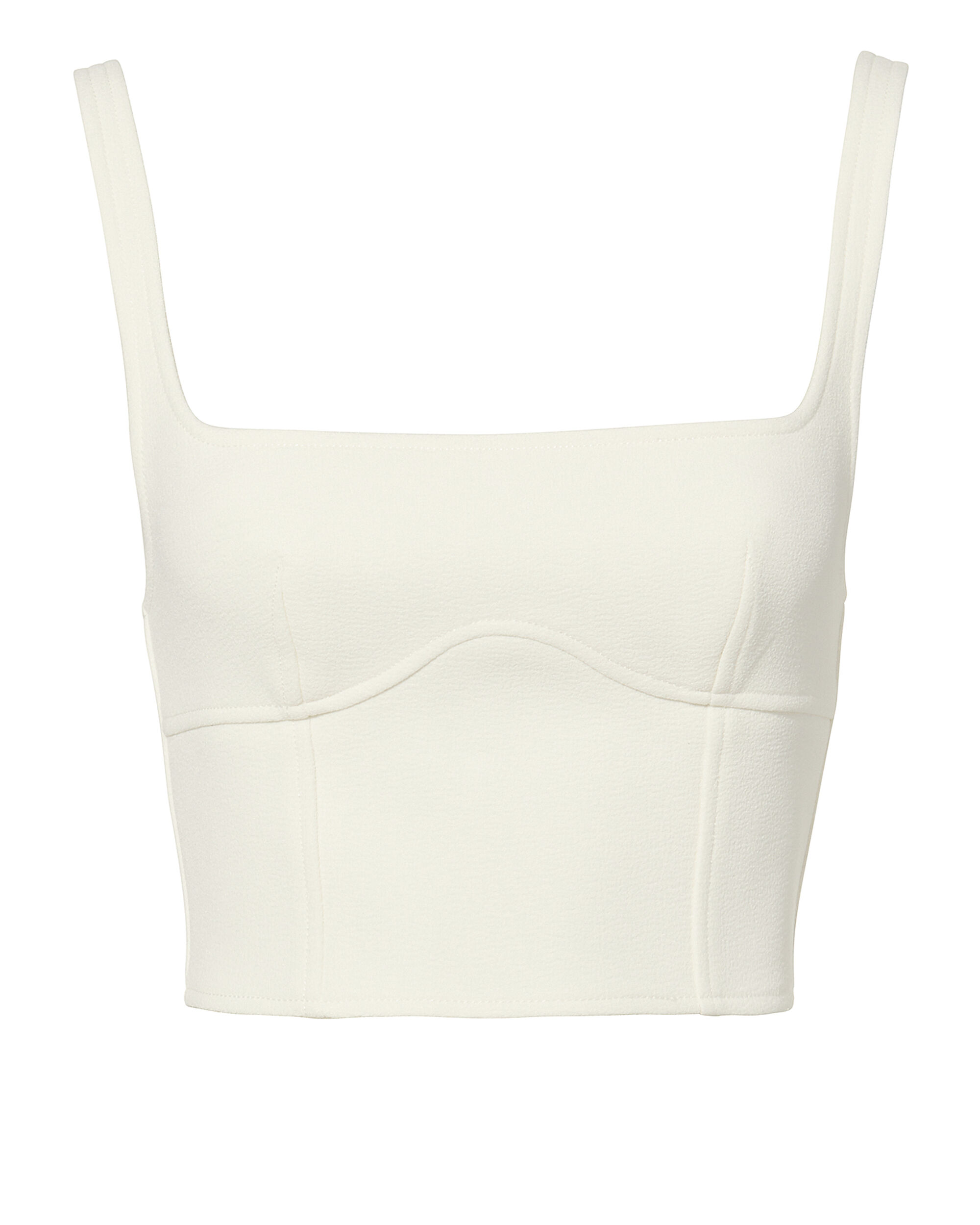 Double Wool White Bustier Top, WHITE, hi-res