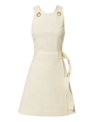 White Twill Grommet Mini Dress, WHITE, hi-res
