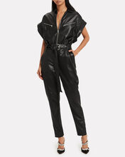 Moreno Leather Jumpsuit, BLACK, hi-res
