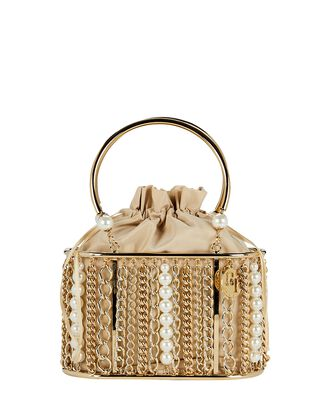 Olivia Pearl & Chain Cage Bag, GOLD, hi-res