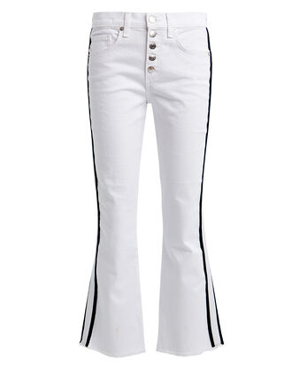 Carolyn Tuxedo Stripe Baby Boot Jeans, WHITE, hi-res