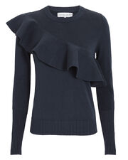Sterre Ruffle Sweater, NAVY, hi-res