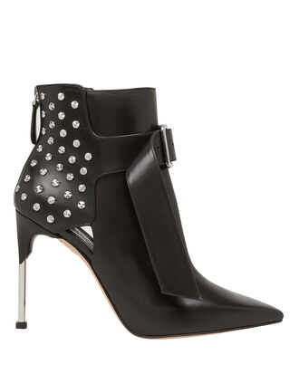 Studded Buckled Black Leather Booties, BLACK, hi-res