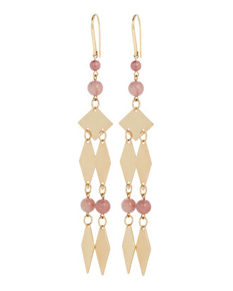 Harlow Beaded Triangle Drop Earrings, PINK, hi-res