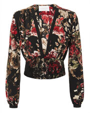 Plunge Neck Corset Blouse, BLACK/RED FLORAL, hi-res