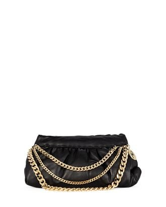 Glam Chain-Link Leather Pouch Clutch, BLACK, hi-res