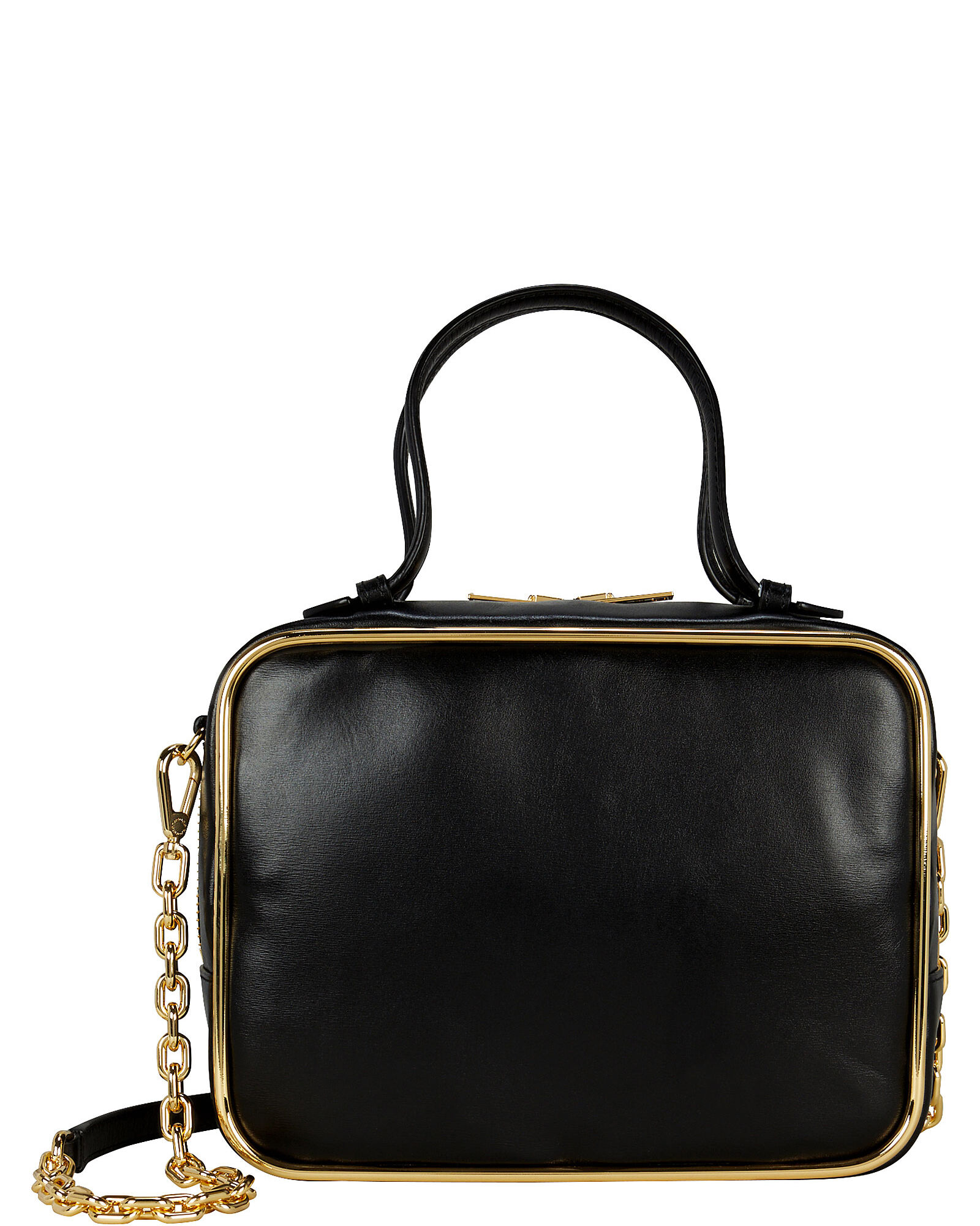Halo Square Leather Bag, BLACK, hi-res