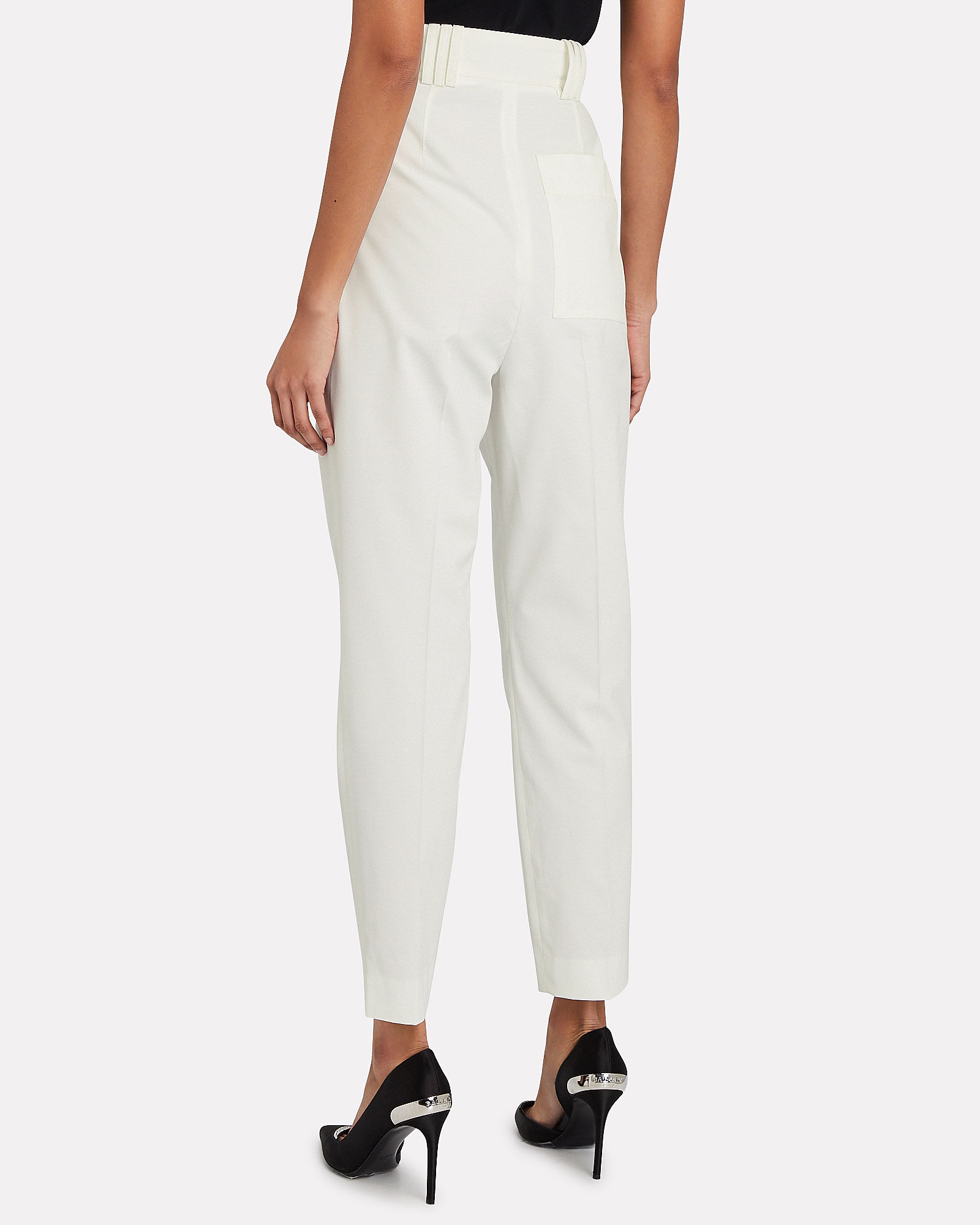 Tapered Pleated Pants, WHITE, hi-res