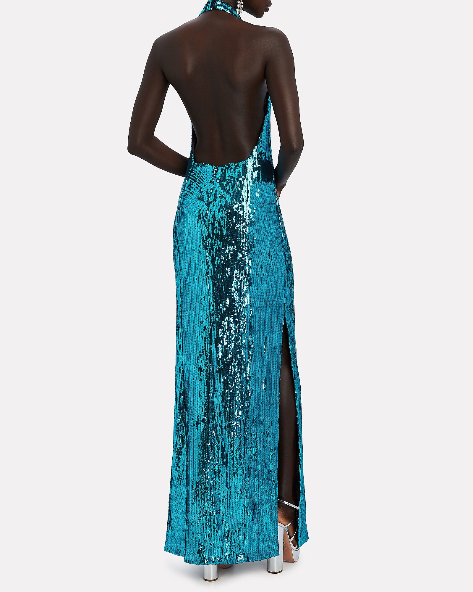 Oceana Sequinned Halter Gown, TURQUOISE, hi-res