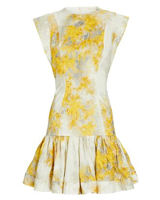 Botanica Floral Linen Mini Dress, WHITE/YELLOW, hi-res