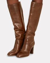 Goldy Knee-High Leather Boots, BROWN, hi-res