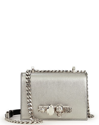 Jewelled Silver Satchel Bag, SILVER, hi-res