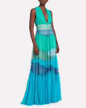 Lace-Trimmed Silk Chiffon Gown, TURQUOISE, hi-res