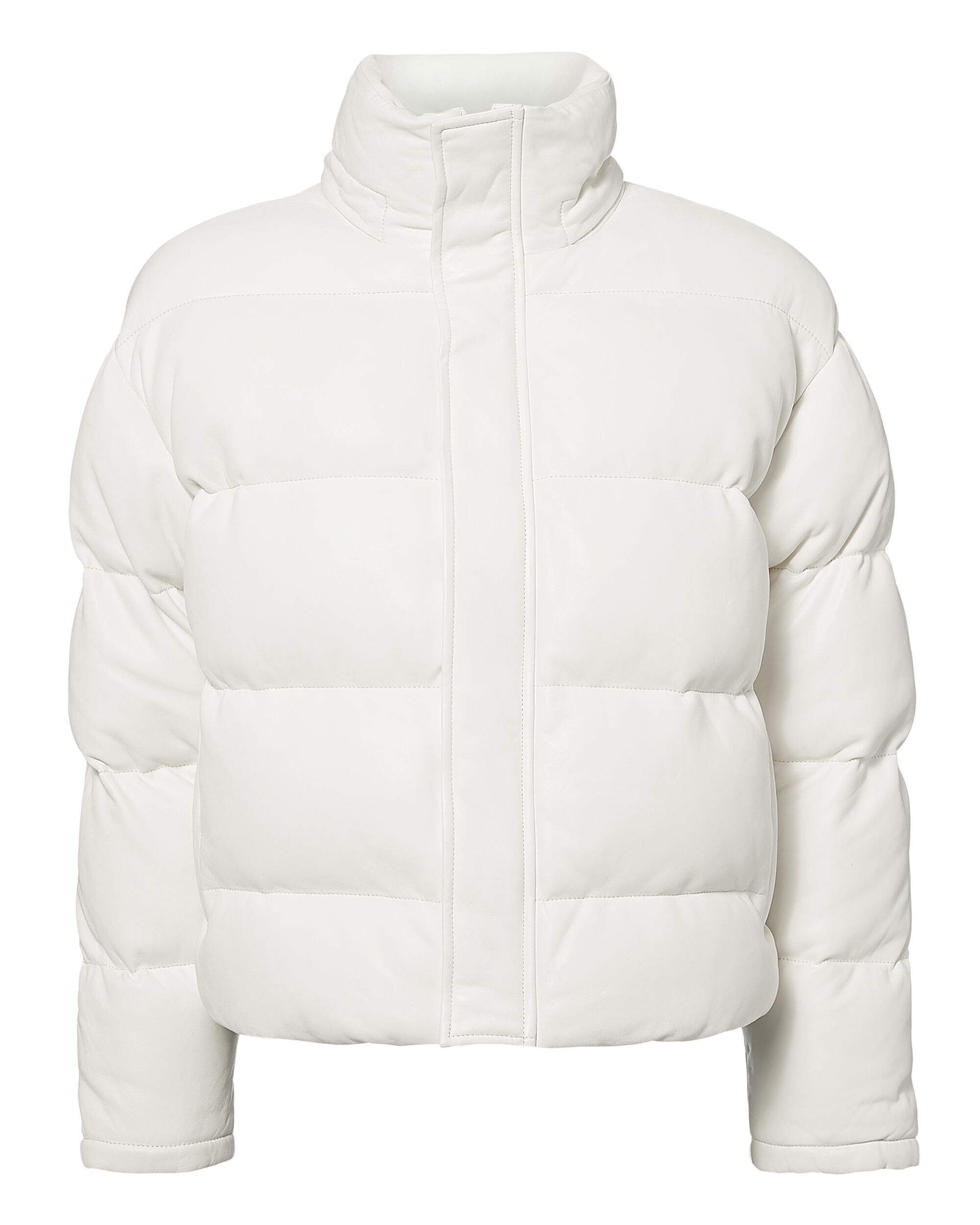 Collyn Leather Cropped Puffer, WHITE, hi-res