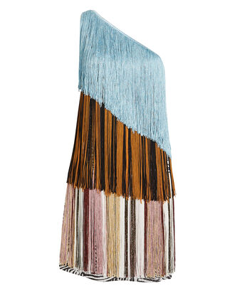 Colorblock Fringe Mini Dress, BLUE/MIXED PRINT, hi-res