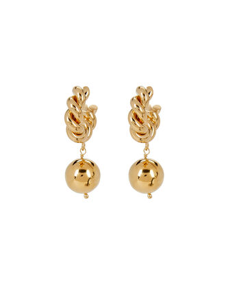 Twisted Gold Drop Hoops, GOLD, hi-res
