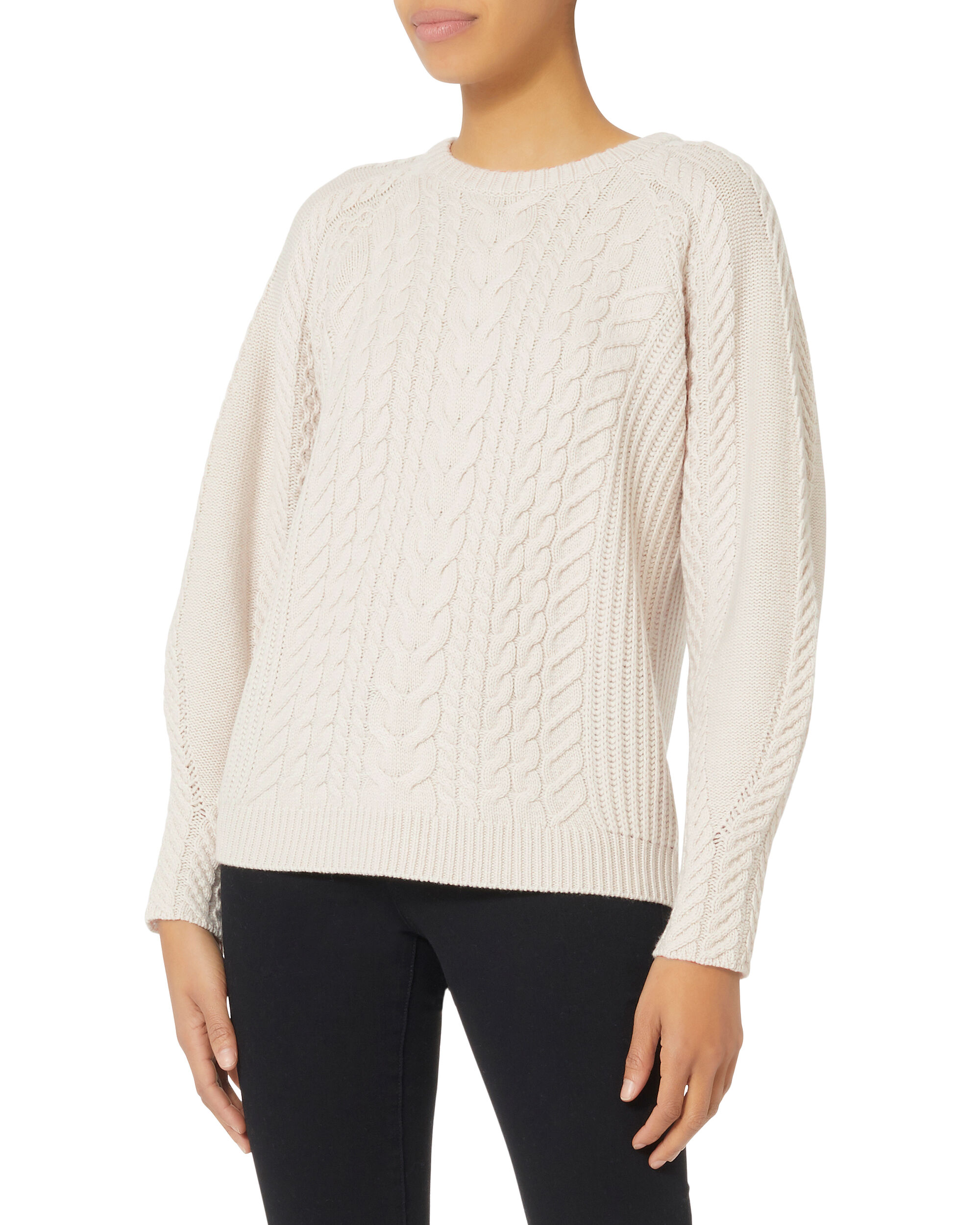 Brinley Blouson Sleeve Cabled Sweater, GREY-LT, hi-res