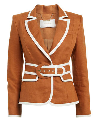 Super Eight Linen Blazer, TOFFEE, hi-res