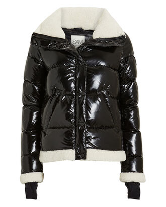 Willa Shearling-Trimmed Puffer Jacket, BLACK, hi-res