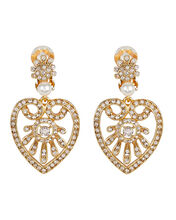 Heart Drop Crystal-Embellished Earrings, GOLD, hi-res