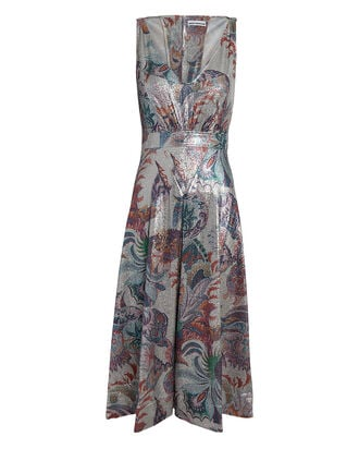Abstract Print Lamé Midi Dress, MULTI, hi-res