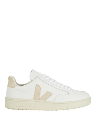 V-12 Leather Sneakers, WHITE, hi-res