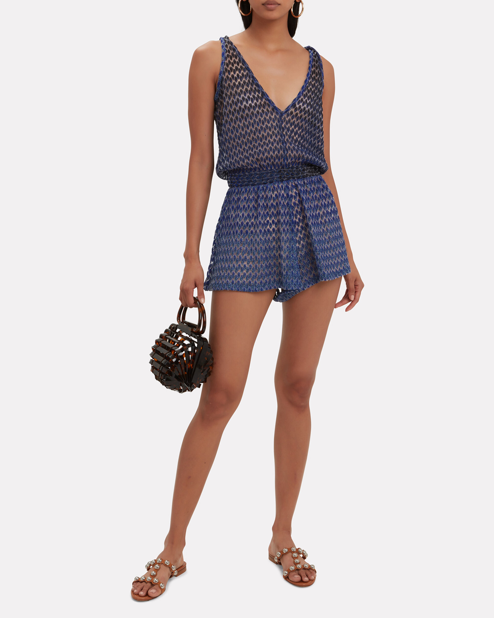 Crochet Metallic Romper, BLUE-DRK, hi-res