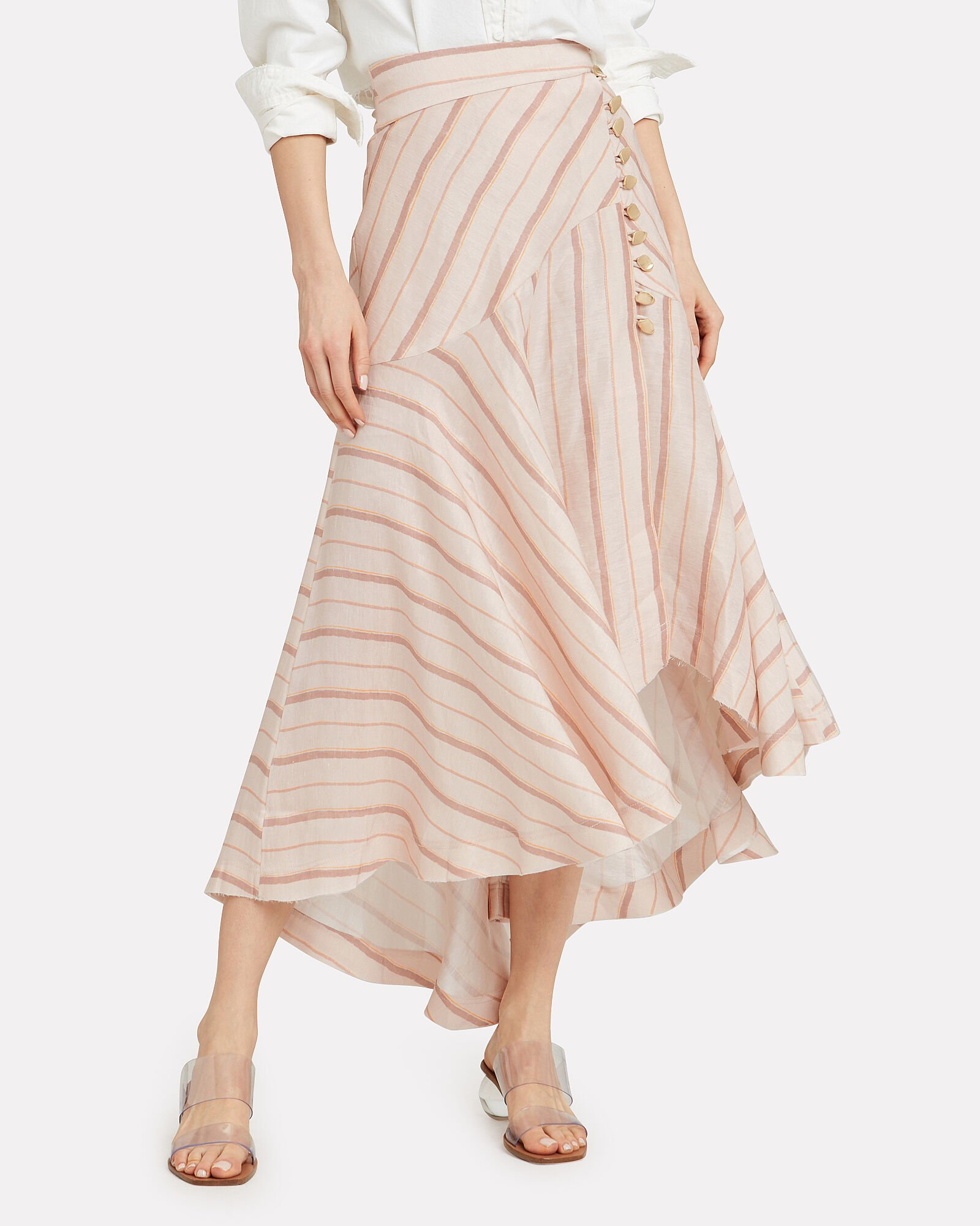 Cora Silk Linen Striped Skirt, BEIGE, hi-res