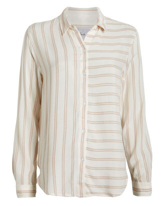Bonnie Striped Button Front Shirt, CREAM/SAND STRIPE, hi-res
