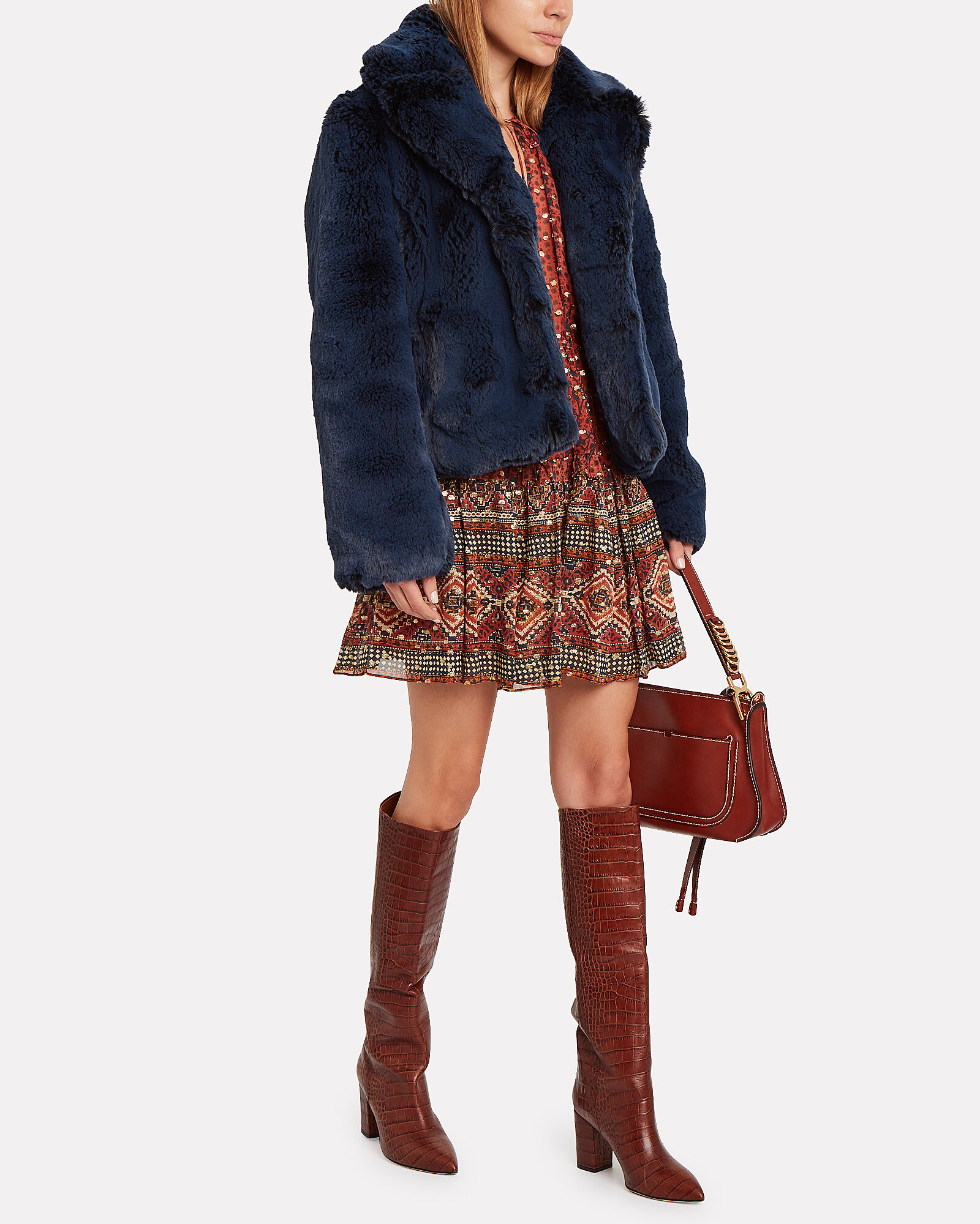 Lorie Faux Fur Jacket, NAVY, hi-res